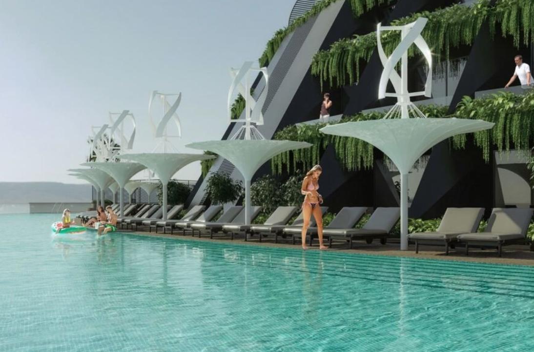 el futuro son los hoteles sostenibles como este que se proyecta en la costa de Qatar 4