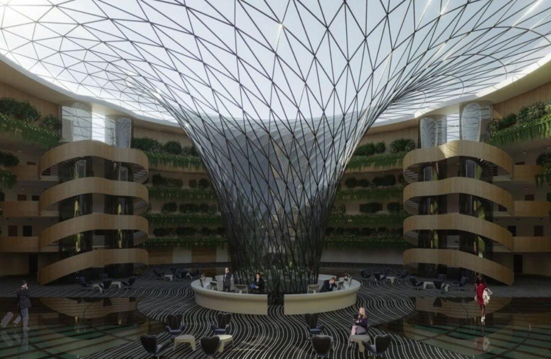 el futuro son los hoteles sostenibles como este que se proyecta en la costa de Qatar 3